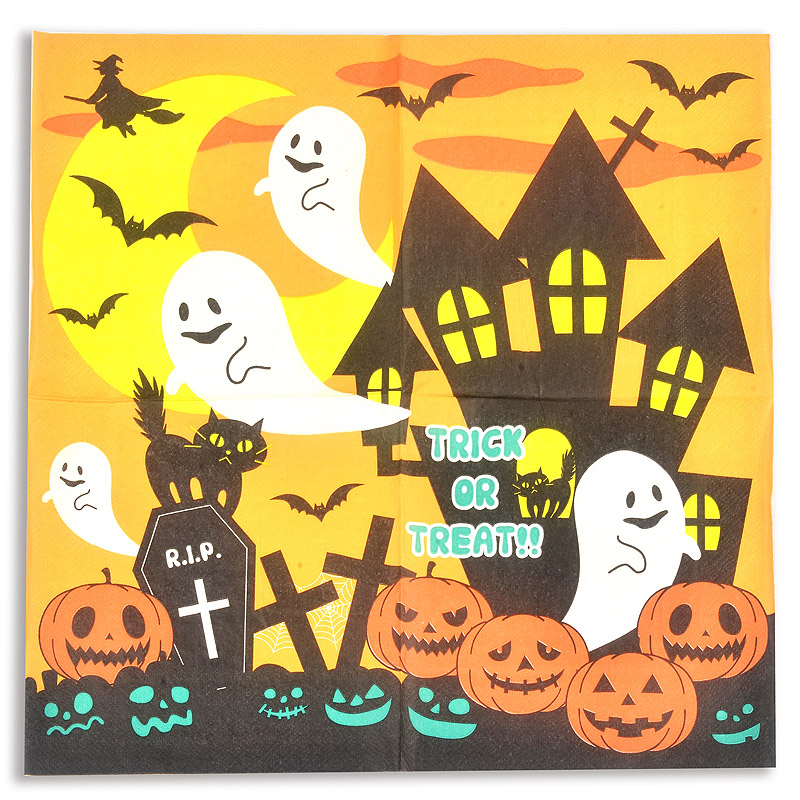 20PCS Paper Napkin 100% Virgin Wood Tissue Paper Napkins For Halloween Pumpkin Black Cat Bot Ghost Cross Night Party Decoration