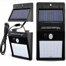 Открытый 20 светодиодов сплит Солнечный свет лампы PIR датчик движения 3 режима Водонепроницаемый отдельный сад уличная Ночная лампа настенный светильник