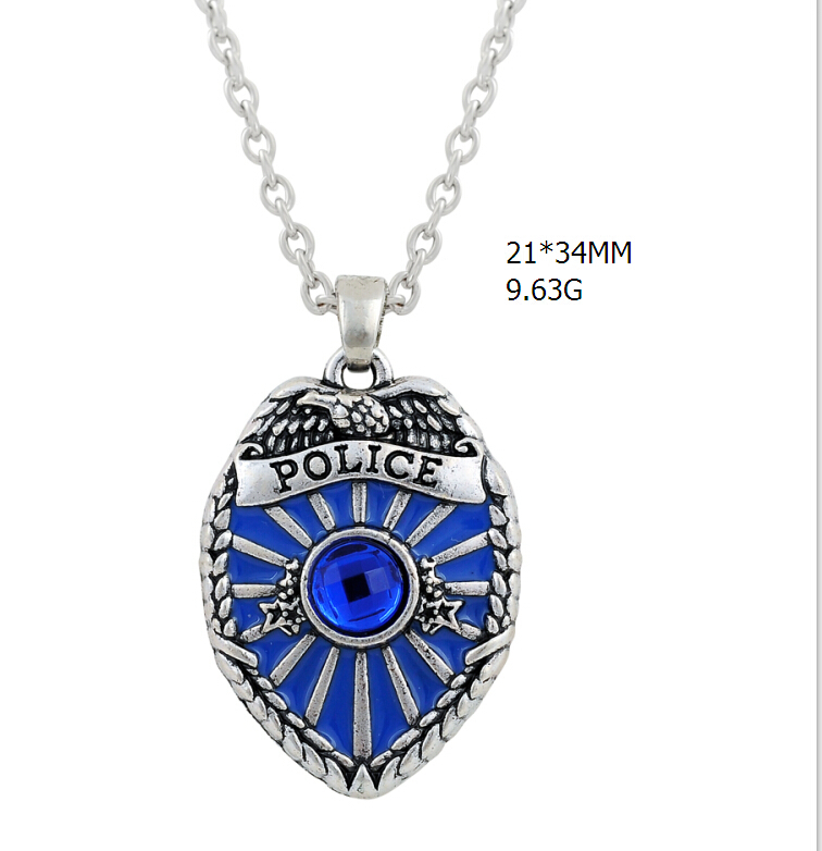 Skyrim Cool Jewelry Rhinestone Police Badge Necklace Policeman Blue - Bisutería - foto 2