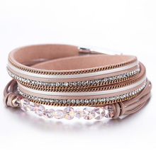 Amorcome Multilayer Leather Bracelets For Women 2020 Fashion Red Pink Crystal Bohemian