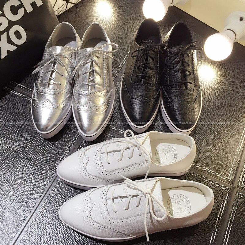 Mujer Mujeres Zapatos de Pisos de Cuero 2015 Las en de Casual Negro Para Mujer Plata Con de Oxford Genuino Zapatos Cordones Blanco Mujer Zapatillas Oxford qSvPY