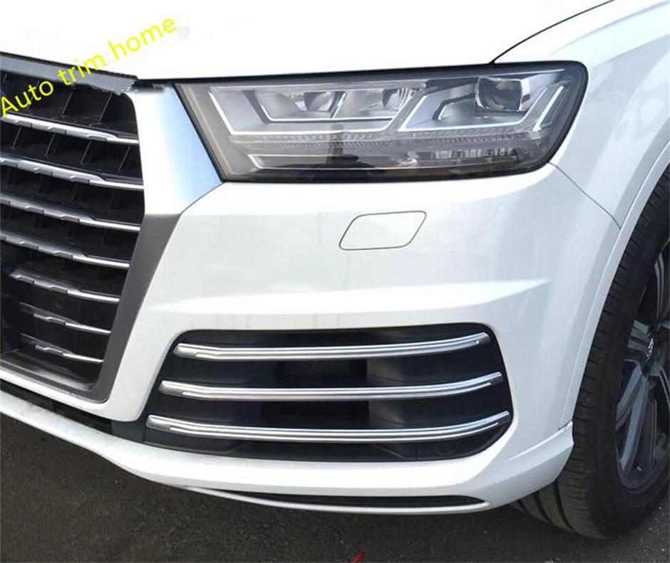 цена на ABS Front Bumper Front Grille Foglight Fog Light Lamp Cover Trim 6 Pcs / Set For Audi Q7 S-line Sport 2016 2017 2018