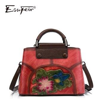 ESUFEIR New Genuine Leather embossed Women Handbag Vintage Messenger Bag Fashion Shoulder Bag Luxury Brand  Designer Ladys Bags
