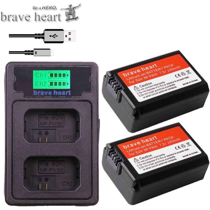 Digital Batterien Lcd Usb Dual Ladegerät Für Sony Nex-3 Nex-5c Alpha A55 Nex-c3 Gut Verkaufen Auf Der Ganzen Welt 2 Pcs 2000 Mah Np-fw50 Npfw50 Np Fw50 Batterie Batterie Akku Bateria Stromquelle