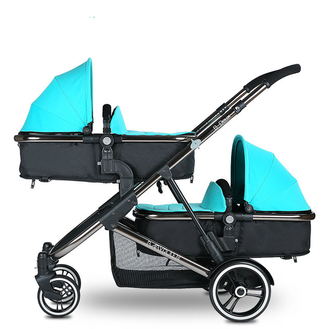 Twin baby trolley can be sitting in a high landscape folding double light baby trolley