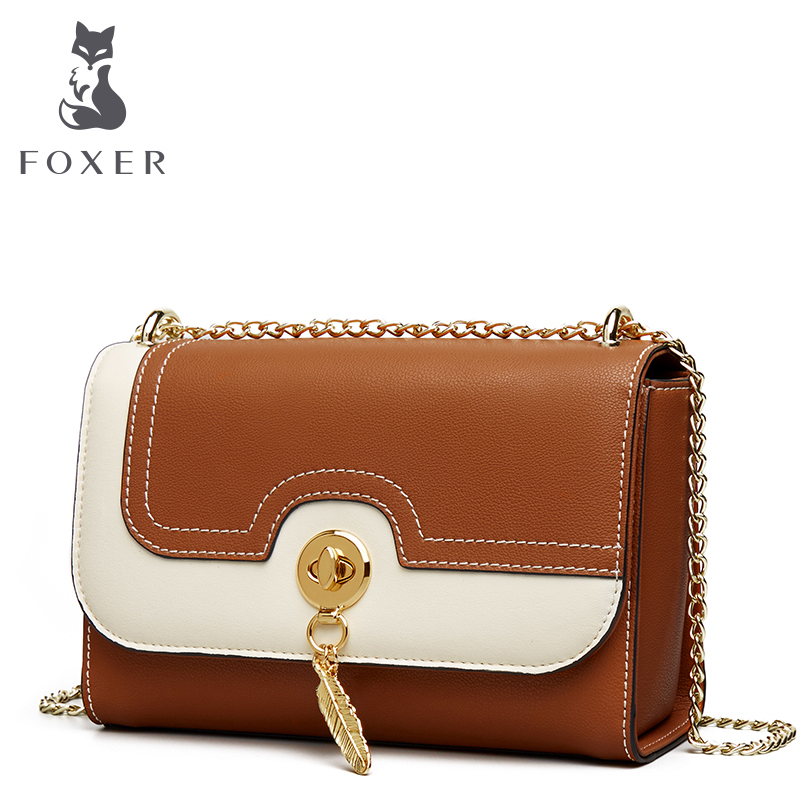 FOXER Brand Women Crossbody Bags Leather Shoulder Bag for Lady Girl Small Fashion Chain Bag Flap Valentine's Day Gift