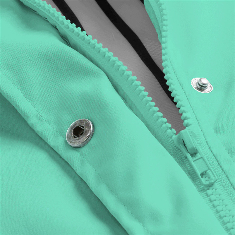 Rain Coat Women Plus Size Coat 2018 Long Sleeve Waterproof Jacket Hooded Raincoat Jacket Women Clothes Warm Coat Girl #O11 (1)