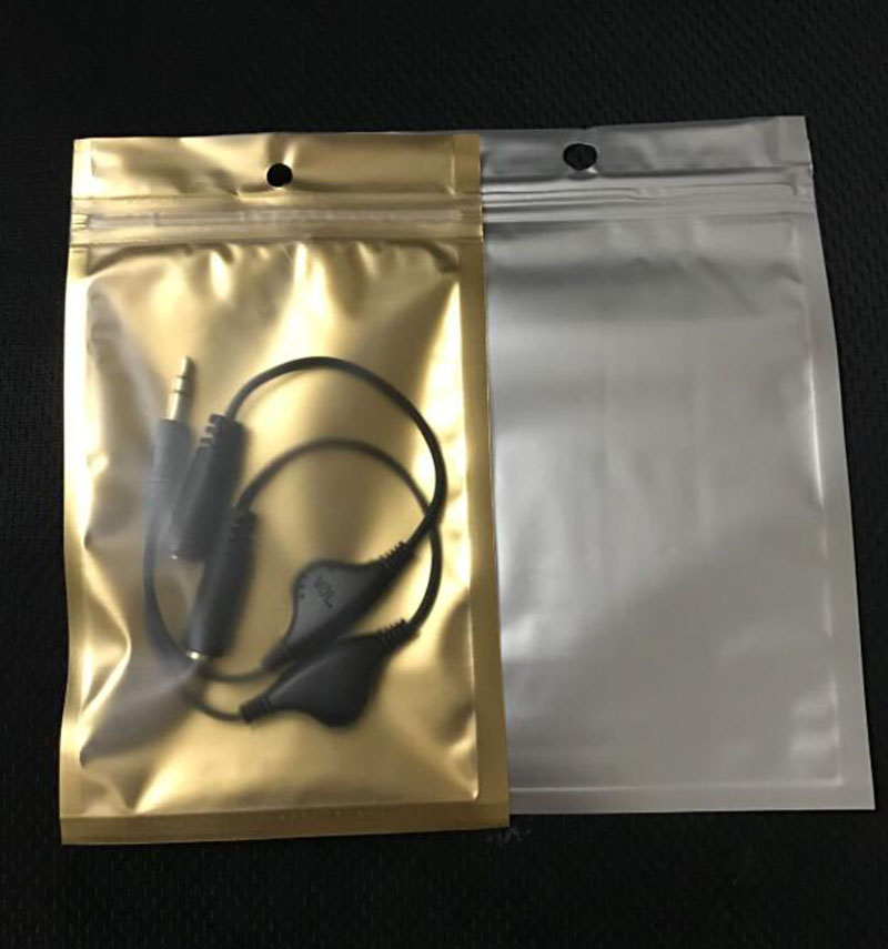 Wholesale 9*15cm Resealable Seal Valve Zipper Gold Clear Packing Bag Plastic Ziplock Storage Pouch Polybag With Hang Hole-in Storage Bags from Home & Garden    1