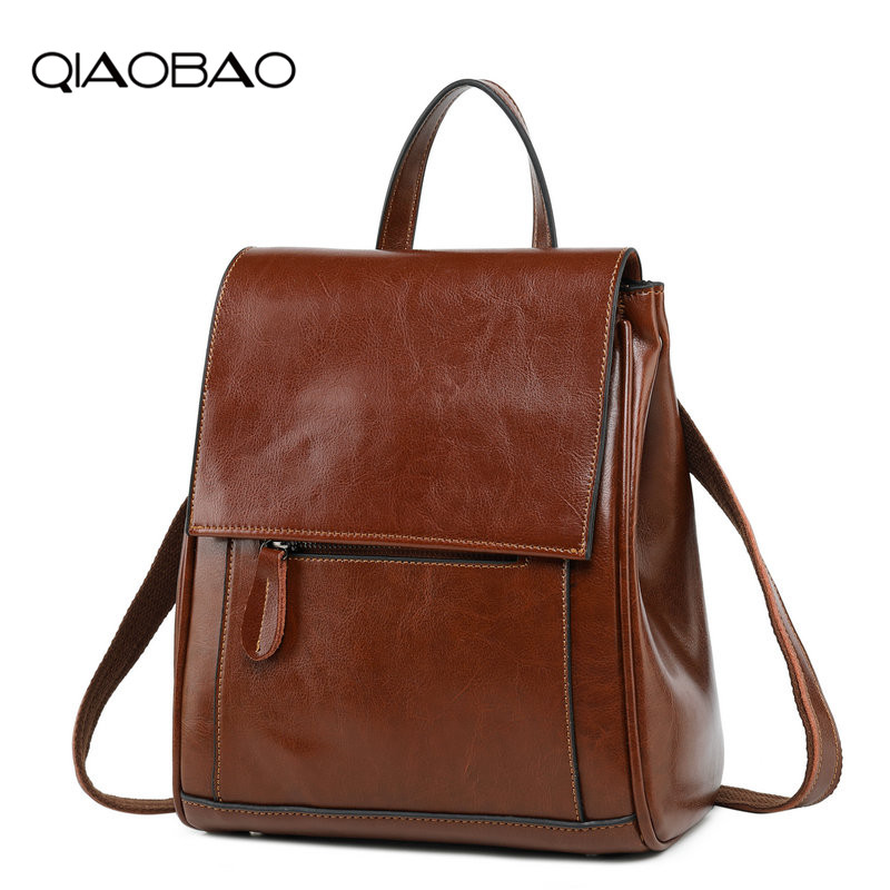 QIAOBAO Luxury Genuine Leather Backpack Women Bags Preppy Style Backpack Girls School Bags Fashion Cowhide Leather Back