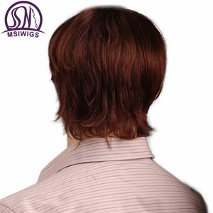 Image 5 - MSIWIGS 8 Inch Short Hair Synthetic Wigs for Men Natural Reddish Brown Straight Male Wig with Bangs Heat Resistant