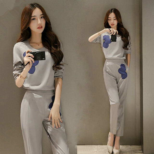 clothing in the autumn of two sets of new style of printing and long sleeved pants fashion leisure fashion casual women
