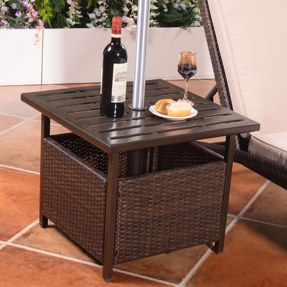 Brown rattan wicker steel side table outdoor furniture for Patio furniture table