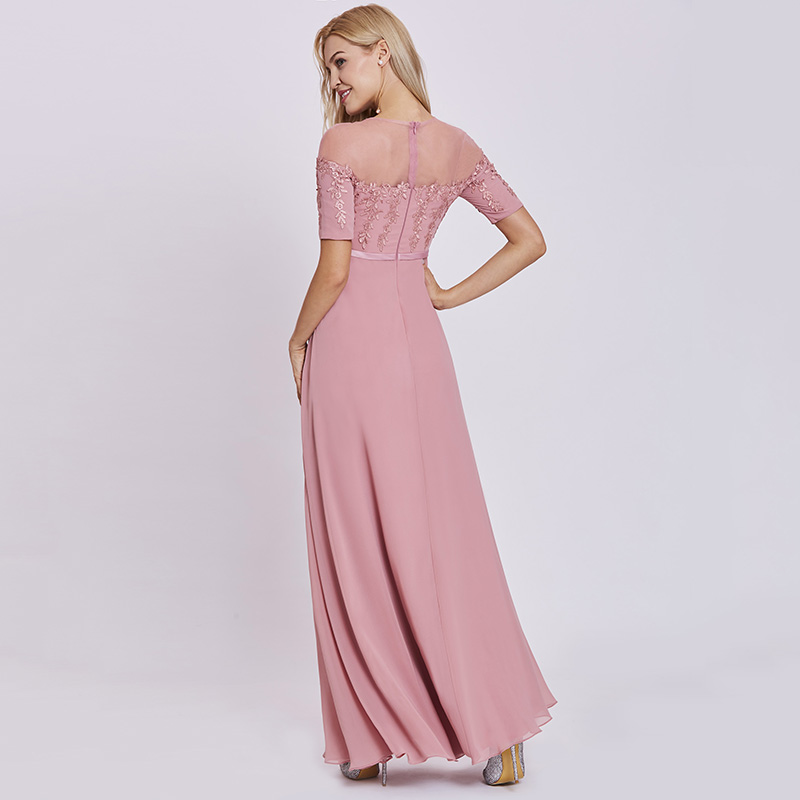 Tanpell scoop neck evening dress peach short sleeves floor length a ...
