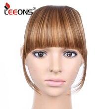Leeons синтетические женские волосы на заколках, накладные волосы с бахромой, черные с блондином, накладные волосы на заколках спереди, 6 дюймов