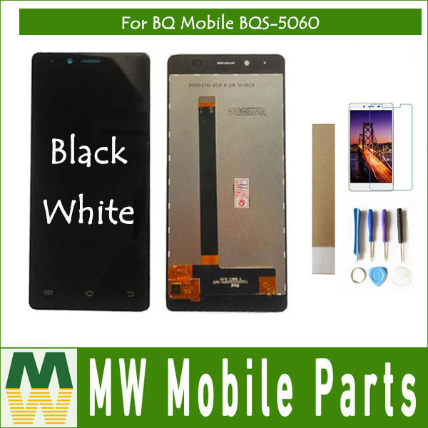 Original For BQ Mobile BQS-5060 BQS 5060 BQS5060 BQ-5060 BQ 5060 BQ5060 Silm LCD Display+Touch Screen Assembly Black White Color
