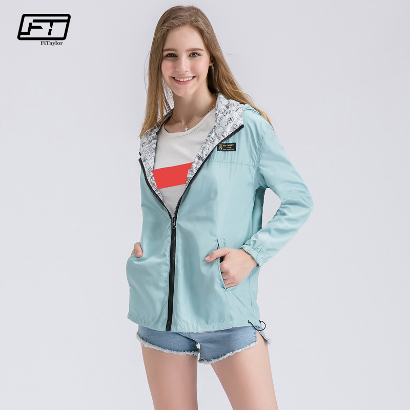 Fitaylor Spring Autumn Women Trench Coat Windbreaker Female Two Side Wear Outwear Hooded Zipper Loose Cartoon Print Coat