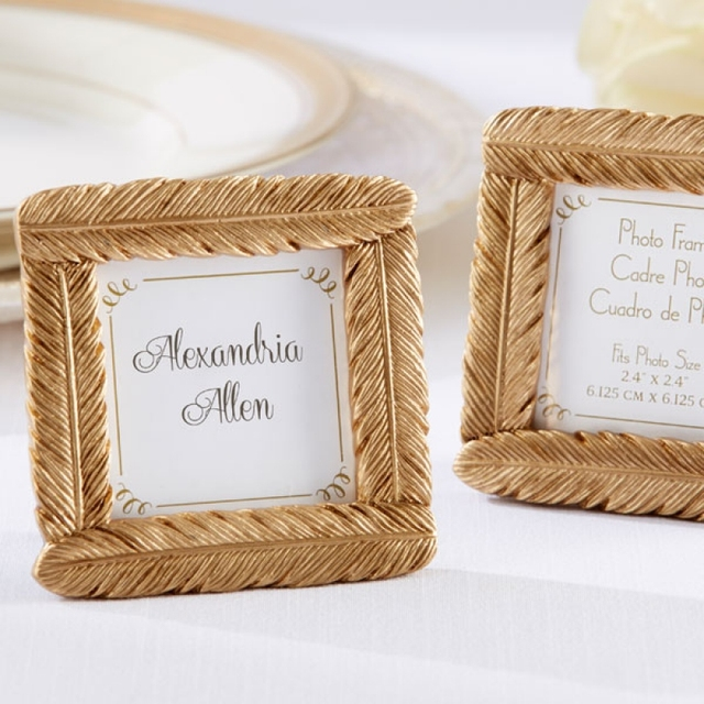 Resin Novelty Gold Feather Small Photo Frame Card Picture Holder With Back Stand Wedding Party Baby
