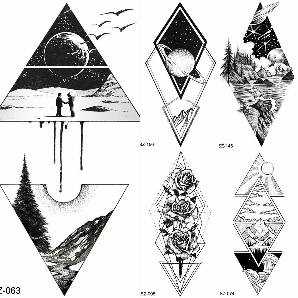 Geometric Tattoos Temporary Moon Men Body Arm Art Tattoo Stickers Birds Peak Fake Triangle Women Hill Tatoos Planet Xmas Gifts Aliexpress