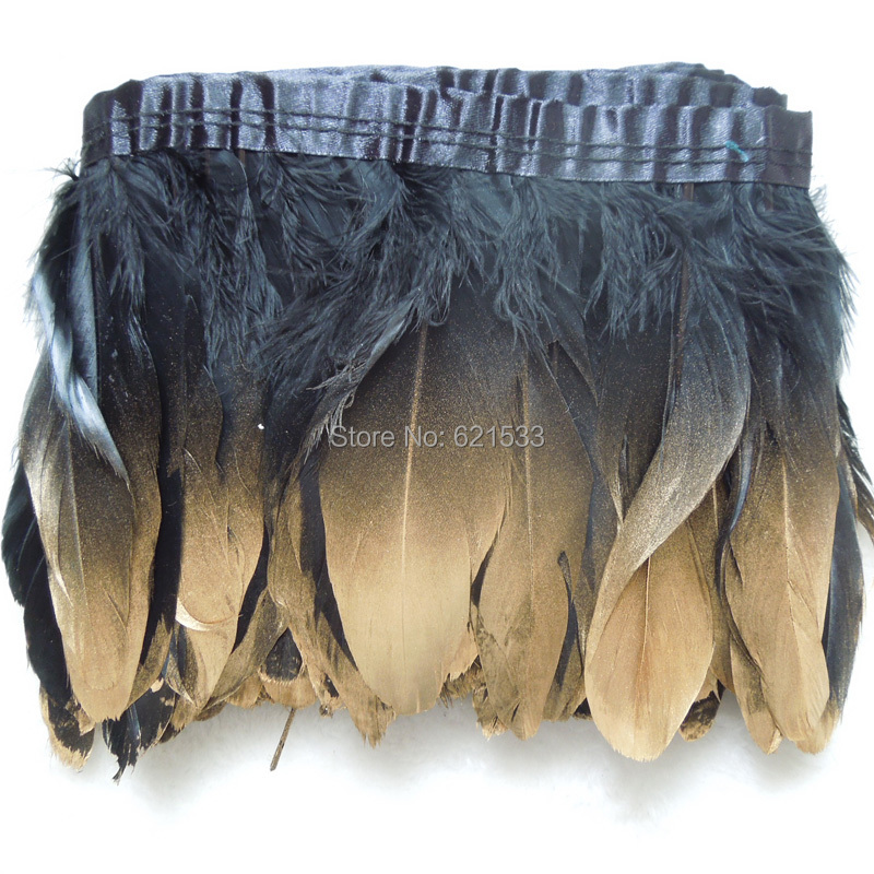 Dipped Gold Dyed Black Real Goose Feather Fringe Trims Height 5-6 Feathers Ribbon For Skirt Carnival Clothing Decoration,2Yard