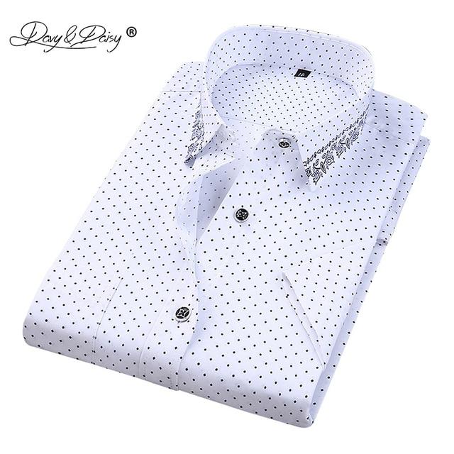 DAVYDAISY 2018 Лето Повседневное футболка с коротким рукавом Для мужчин Slim Fit печати социальных рубашки мужской Camisas 4XL DS-227