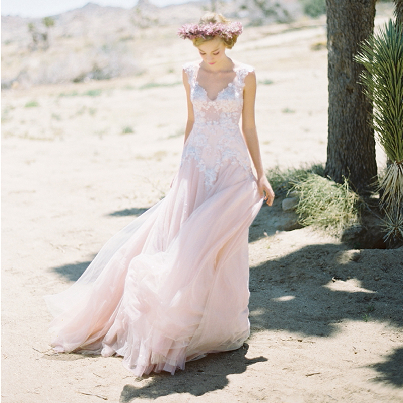 Red Wedding Gowns 2014: Pretty Blush Pink Beach Wedding Dresses 2017 Sexy Backless
