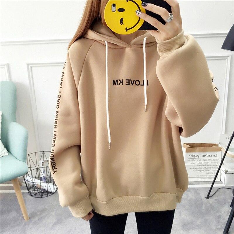 Harajuku Letters Casual Hoodies Pullover Thick Loose Women Hoodies Sweatshirt Female Thicken Hoodies 4 Colors