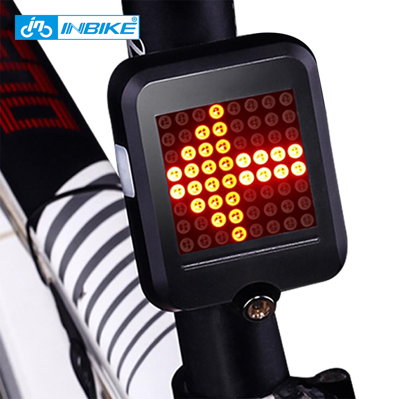 INBIKE Cykellampa Automatisk Dirigering Indikator Bakljus Bikinis USB-laddning Mountain Bike Safety Warning Light