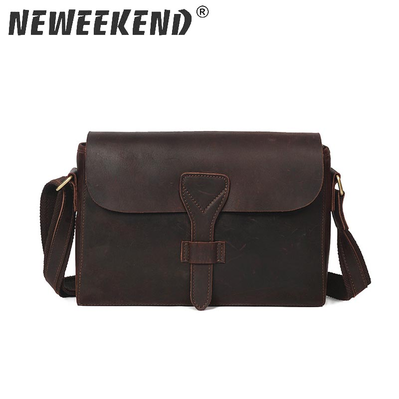 Neweekend Brand Men S Genuine Crazy Horse Leather Business Bag Shoulder Ipad Bags High Quality Male Handbags For Yd 008