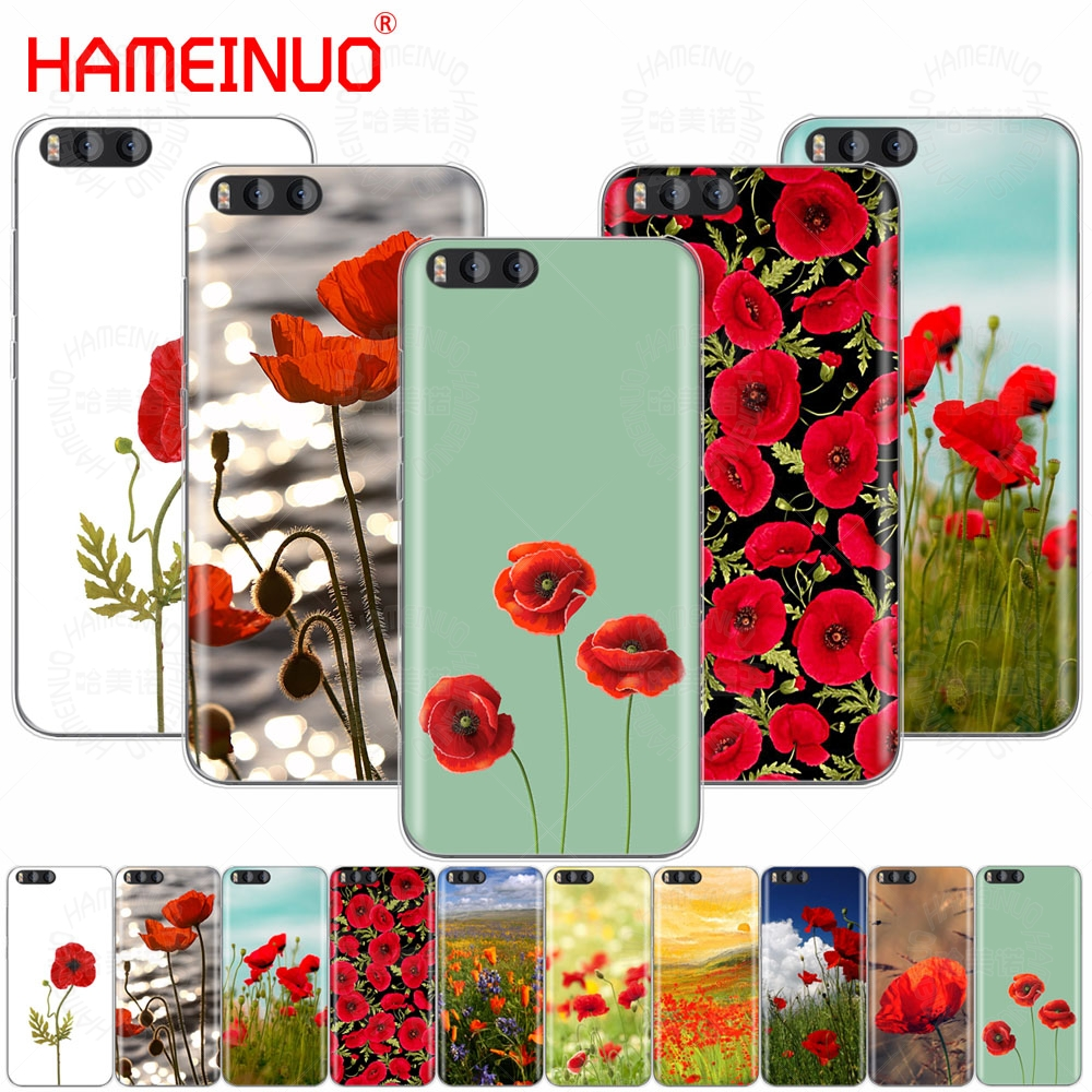 HAMEINUO Red Poppies On Black Style Cover Case for Xiaomi Mi 3 4 5 5S 5C 5X 6 Mi3 Mi4 4S 4I 4C Mi5 MI6 NOTE MAX 2 mix plus