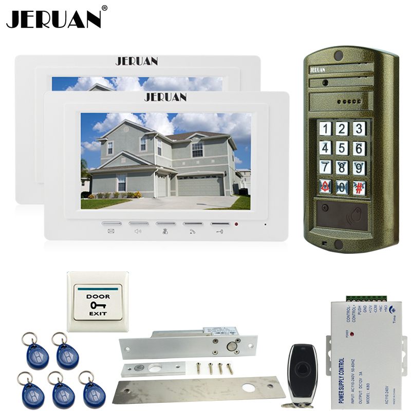 JERUAN NEW Metal panel waterproof password keypad HD Mini Camera + Wired 7 inch Video Door Phone Intercom System kit 1V2 jeruan wired 7 inch video doorbell intercom door phone system kit new metal waterproof access password keypad hd mini camera 1v3