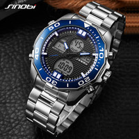 SINOBIยอดนิยมยี่ห้อหรูหราบุรุษนาฬิกาแฟชั่นสบายๆกีฬานาฬิกาข้อมือคู่แบบดิจิตอลMovtนาฬิกาทหารธุ...