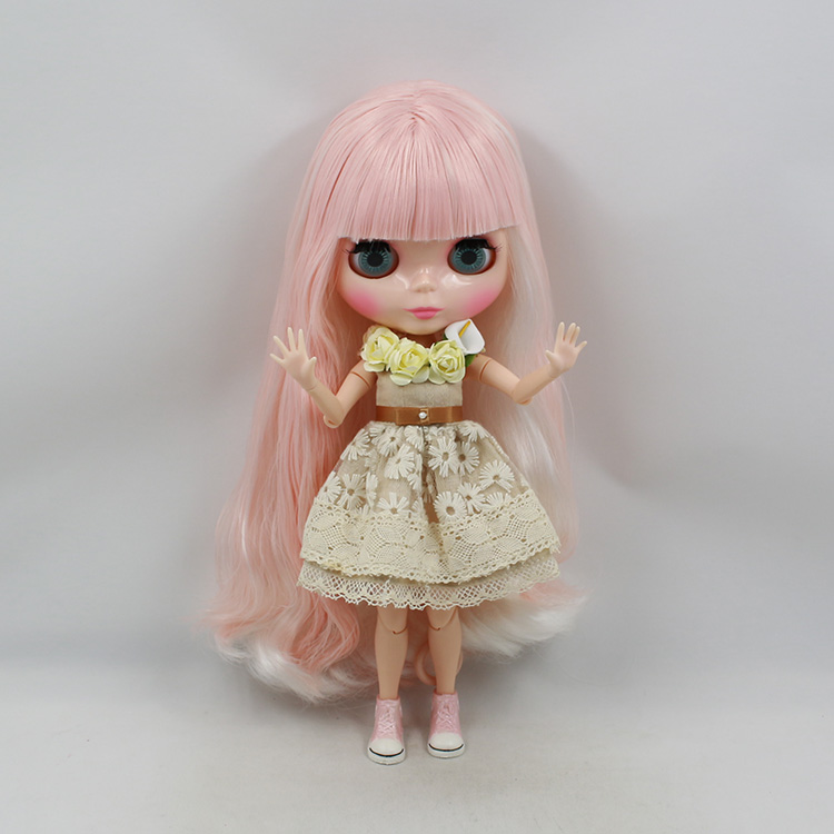 Free shipping Blyth doll nude pink and white bangs long hair joint body for DIY bjd dolls for sale doll blyth yellow short hair with bangs nude blyth doll diy toys baby blyth dolls for sale
