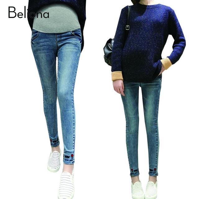Bonito Barba Cuidados de Maternidade Jeans Calças para As Gestantes de Cintura Alta Barriga Denim Calças Jeans Gravidez Roupas Ropa Premama