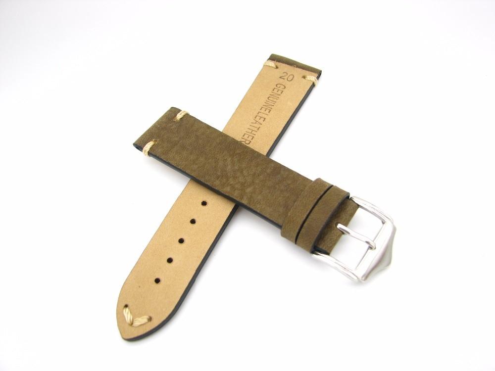 CARLYWET 20 22mm Echtes Leder Grün Braun Vintage Uhrenarmbänder - Uhrenzubehör - Foto 6