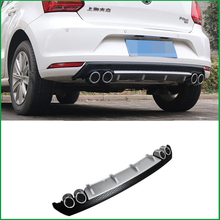 цены For Volkswagen Polo 2014 2015 2016 REAR TRUNK BUMPER LIP SPOILER DIFFUSER 4 OUTLET PIPE EXHAUST PROTECTOR COVER TRIM