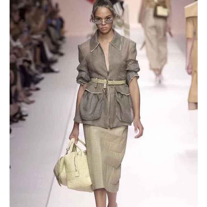 Cosmicchic Runway Women Jacket Long Sleeve Casual Mesh High Quality Designer Jacket With Belt Big Pocket
