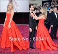Freeshipping Formal Strapless A-Line Taffeta Red Carpet Celebrity Dress