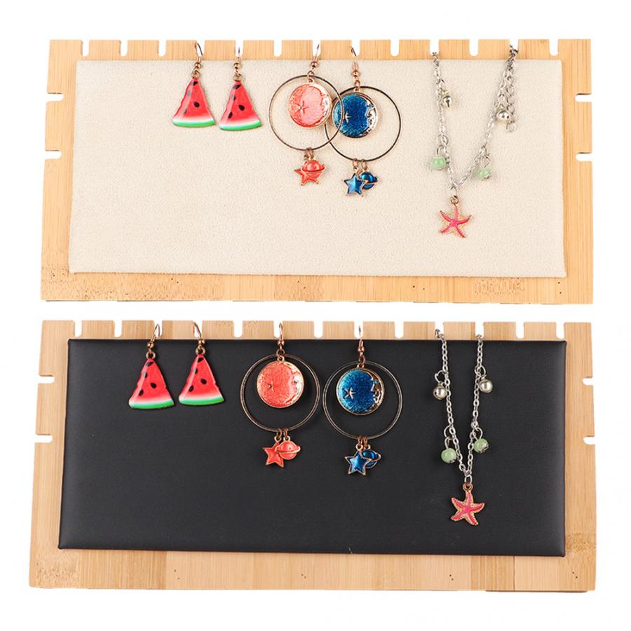 Simple Style Jewelry Display Rack Stand Earrings Necklace Bracelet Organizer Bamboo Jewelry Storage Holder Tray Storage