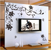 Saturday Mall Black Butterfly Flower Wall Stickers For Home Bedroom Living Room TV Wall Background