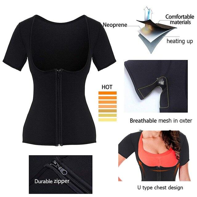Postpartum Corset Belly Belt Body Shaper Maternity Waist Trainer Women Neoprene Sauna Short Gym Sweat Suit Weight Loss Zip Tops 4