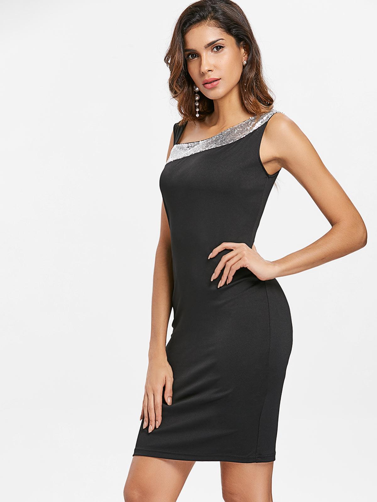 666c18a185cb5 VESTLINDA Skew Neck Sequin Bodycon Dress Black Mini Party Dress Women  Vestidos Verano 2018 Sleeveless Sheath Slim Elegant Dress