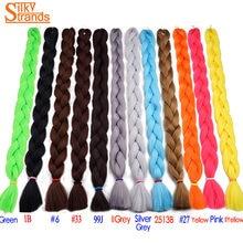 "Silky Strands Kanekalon Jumbo Braids Bulk Synthetic Hair 82"" 165g Kanekalon African Braiding Hair Style Crochet Hair"