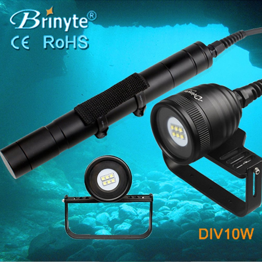Brinyte DIV10W LED Canister Video Light CREE XML2 4500lm LED Scuba Diving Torch Flashlight 200M Underwater Lamp