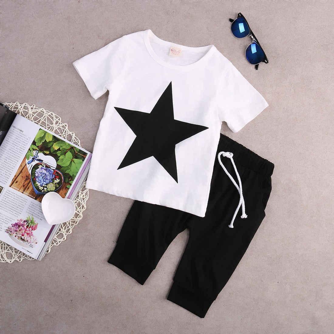 9616c1599 ... Kids Baby Boys Casual Star T-shirt Tops +Harem Pants 2 pcs Outfits  Toddler