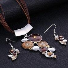 Fashion Silver Jewelry Sets For Women Artifical Stone Enamel