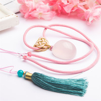 Genuine Natural Pink Quartz Star Light Crystal Round Bead Gem Stone Women Charm Necklace Pendant 32*25*20mm