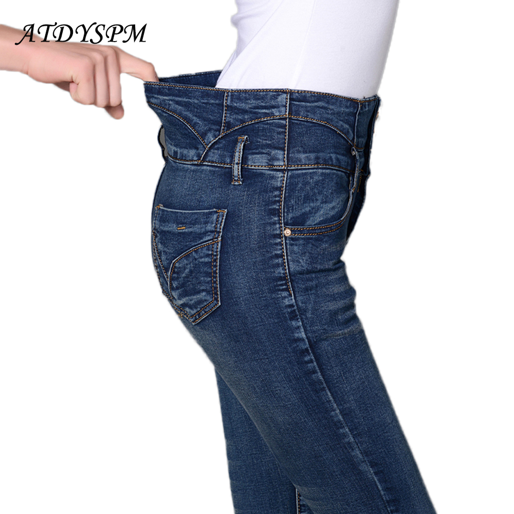 new women high waist stretch   jeans   sexy breasted denim pencil pants classic washed denim   jeans   casual cotton pants trousers