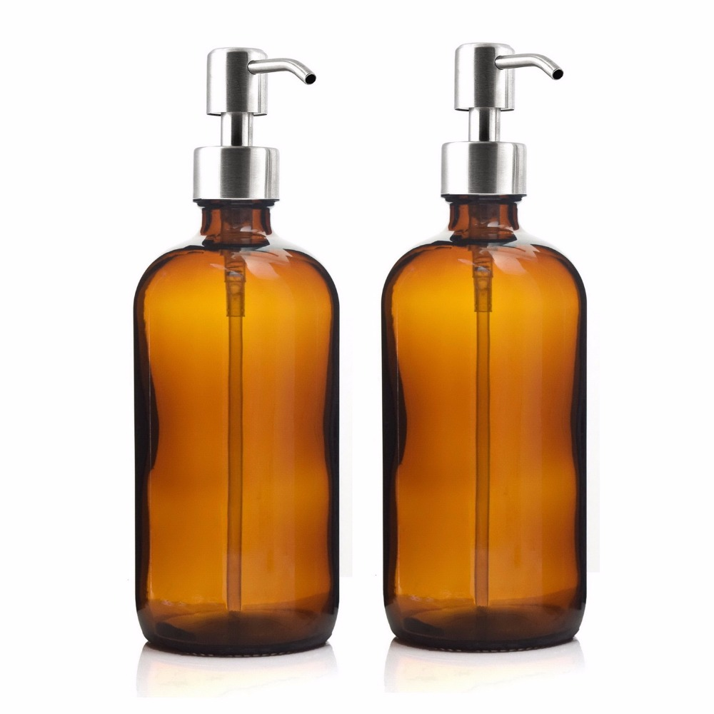 16 Oz Large 500ml Liquid Soap Dispenser Amber Glass Pump Bottle with Stainless Steel Lotion Pump for homemade lotions detergent free shipping brass black liquid soap dispenser bathroom kitchen stainless steel touch soap dispenser wall mounted 1000ml