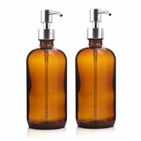 16 Oz Large 500ml Amber Glass Bottle Boston Round With Stainless Steel Lotion Pump For Essential