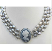 """Wedding Woman AA 3 Strands 18"""" 9-10MM Silver Gary Freshwater Pearl Necklace Real Natural Pearl Handmade EMBOSSED QUEEN'S CLASP"""